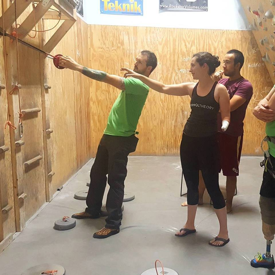 Beck talking to athletes on how she trains and prepares for competitions. Photo Greeneyed Bandita, Brooklyn Boulders Foundation