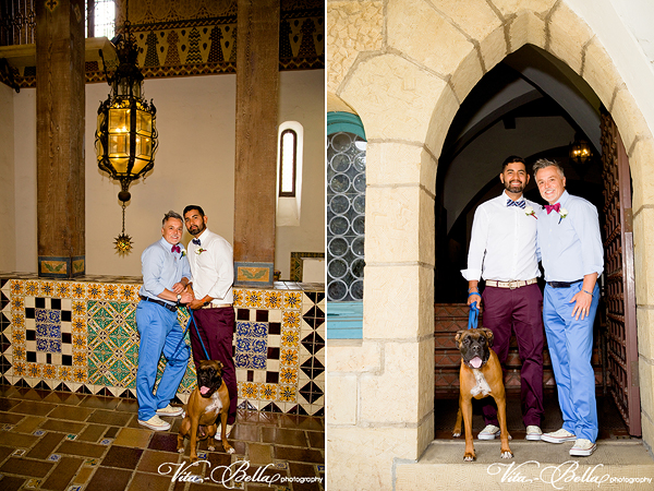 santa barbara courthouse gay wedding elpoement posed shots with dog
