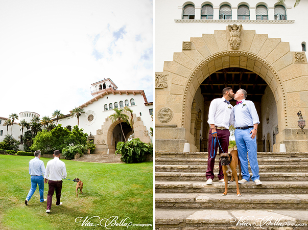 santa barbara courthouse gay wedding steps and sunken garden dog ring barer