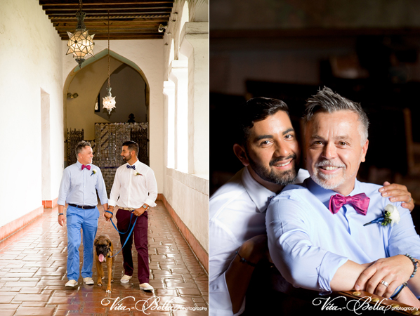 santa barbara courthouse gay wedding walking down the hallway