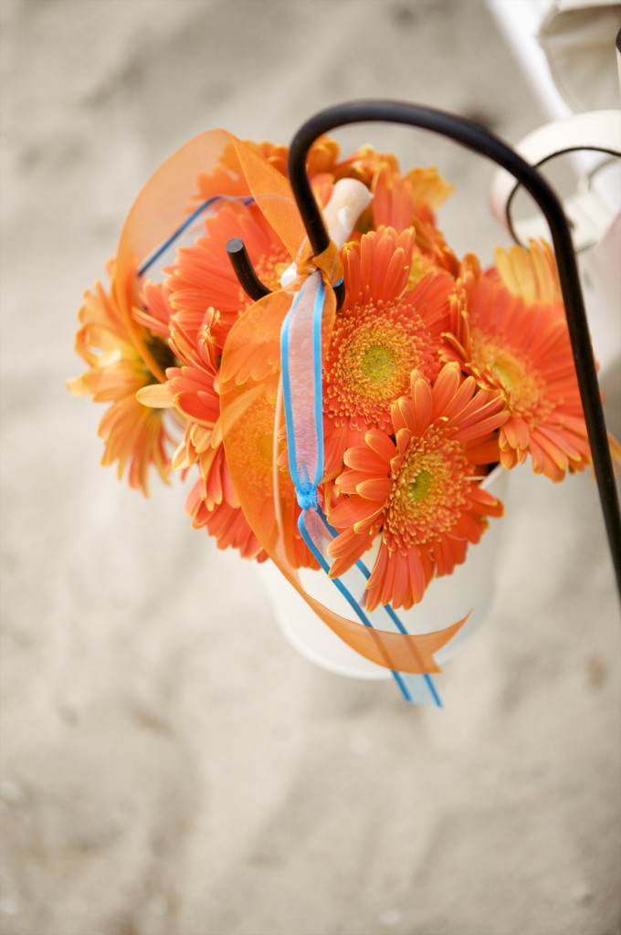 orange wedding ceremony decor daisies  felicievents.com