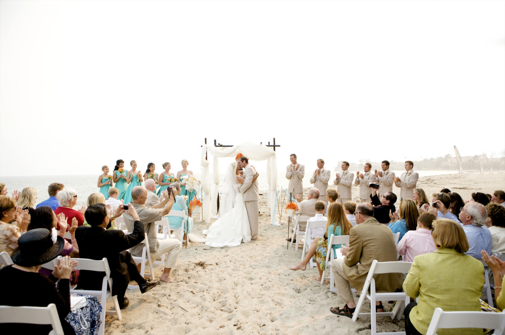 santa barbara beach ceremony orange and teal  felicievents.com