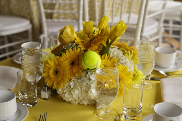 Michael Towbes Birthday 85th floral centerpiece with tennis ball
