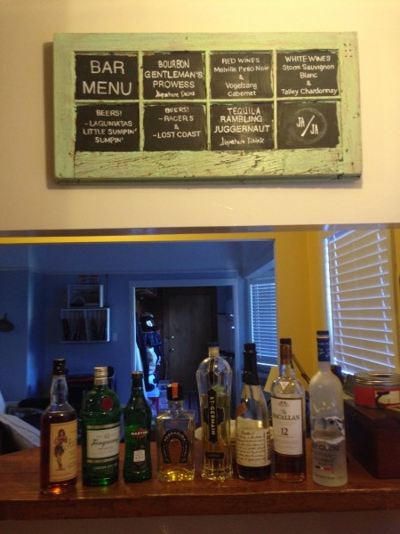 bar menu on window chalk board Felici Events