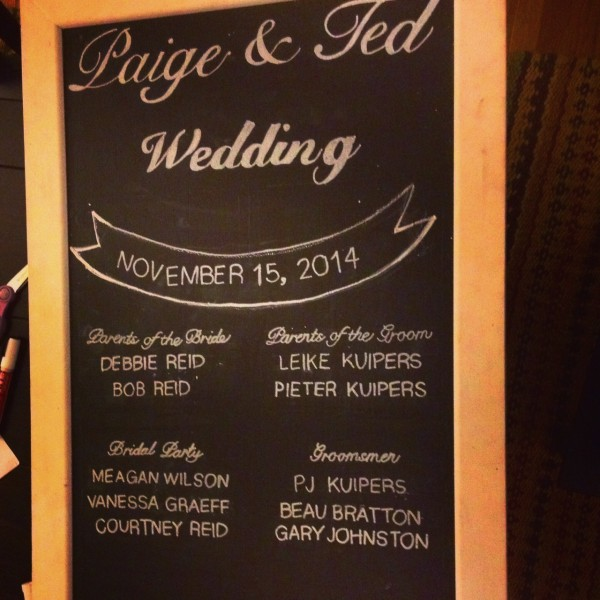 wedding program on chalk board by felici events