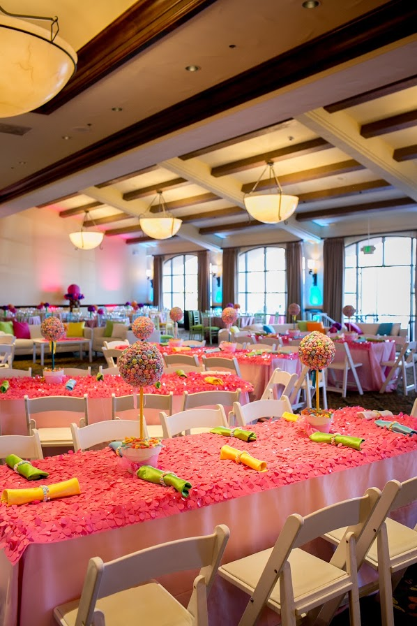 candy bar theme Felici Events Bat Mitzvah pink