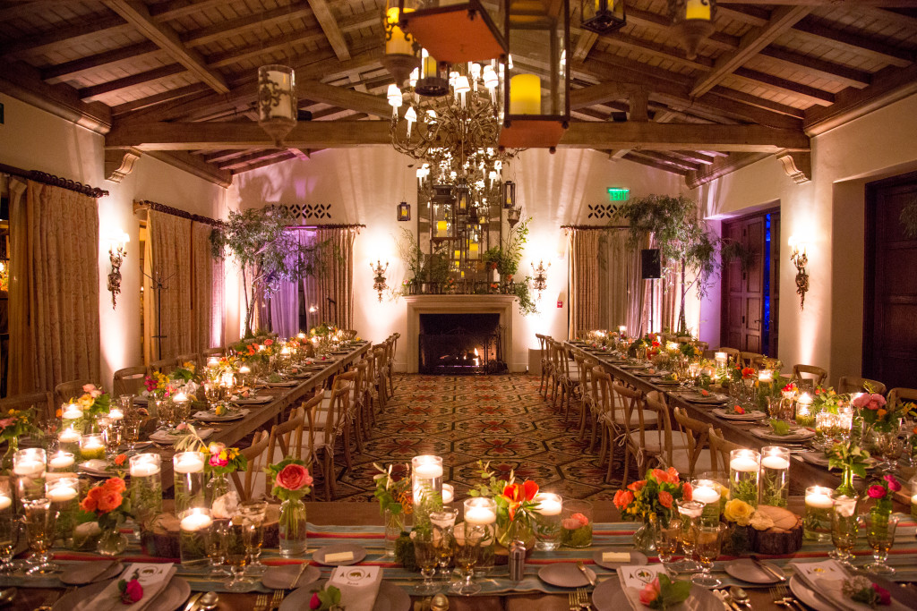 Bar Mitzvah Felici Events Seating Camping Themed Indoor Nature Flowers Green Orange Yellow Trees Lighting Candles