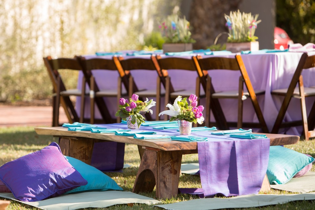Felici Events Bat Mitzvah Garden Purple Seating