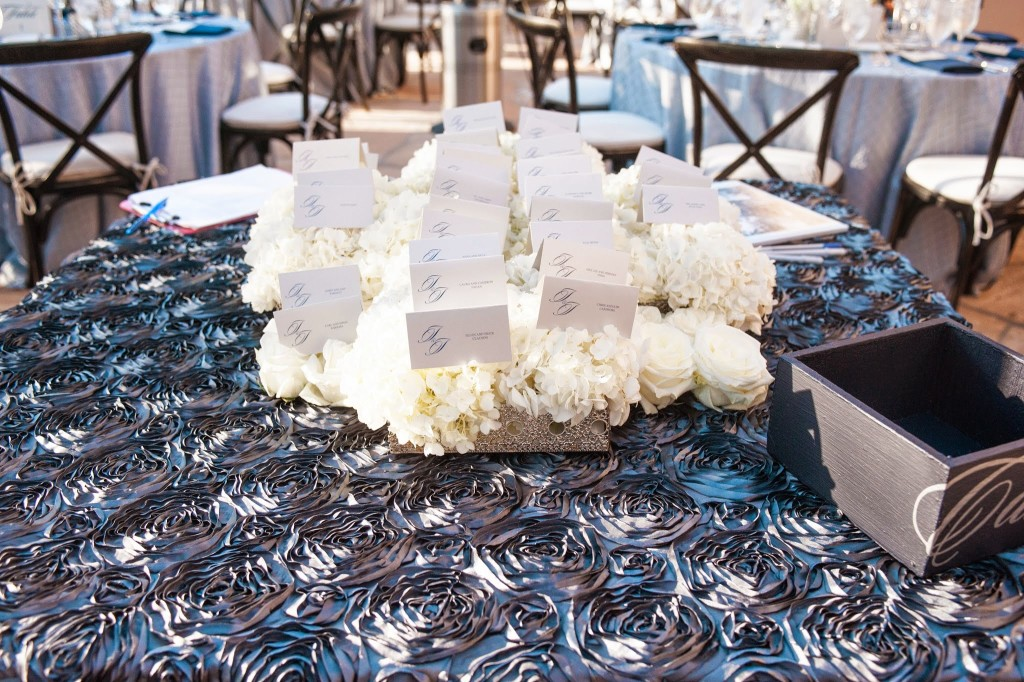 Jill and Jason Excort Card display on hydrangea Felici Events