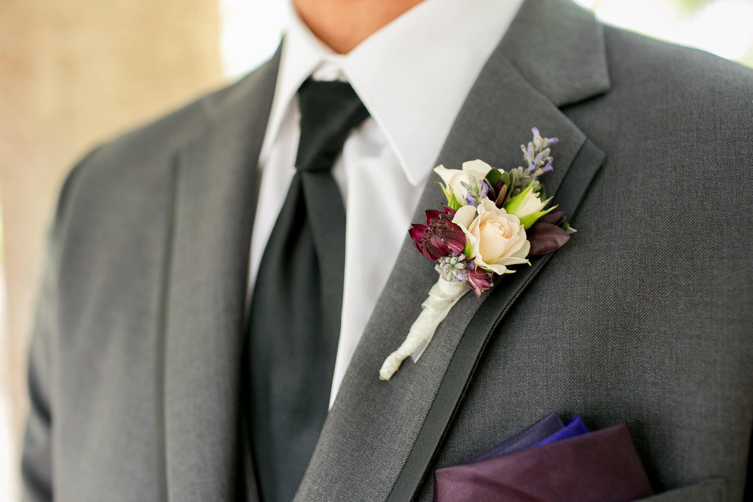 www.felicievents.com | Groom | Felici Wedding | Grey Suit | Purple boutonniere | Santa Barbara Wedding