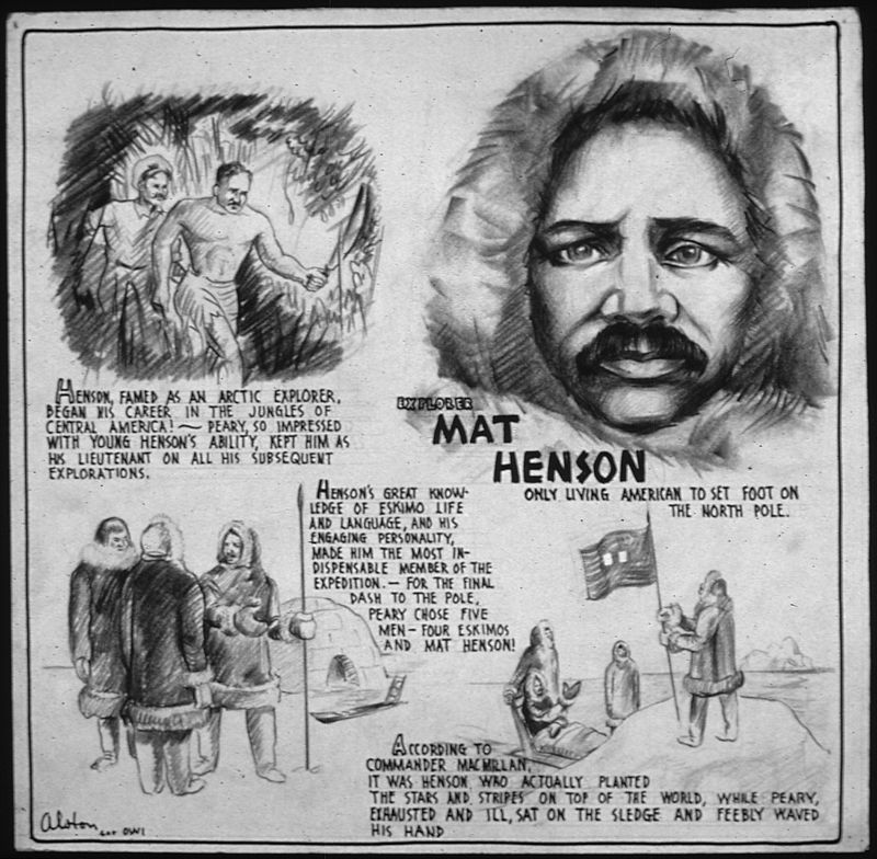 Poster of Matthew Henson from U.S. Office of War Information. News Bureau, 1943