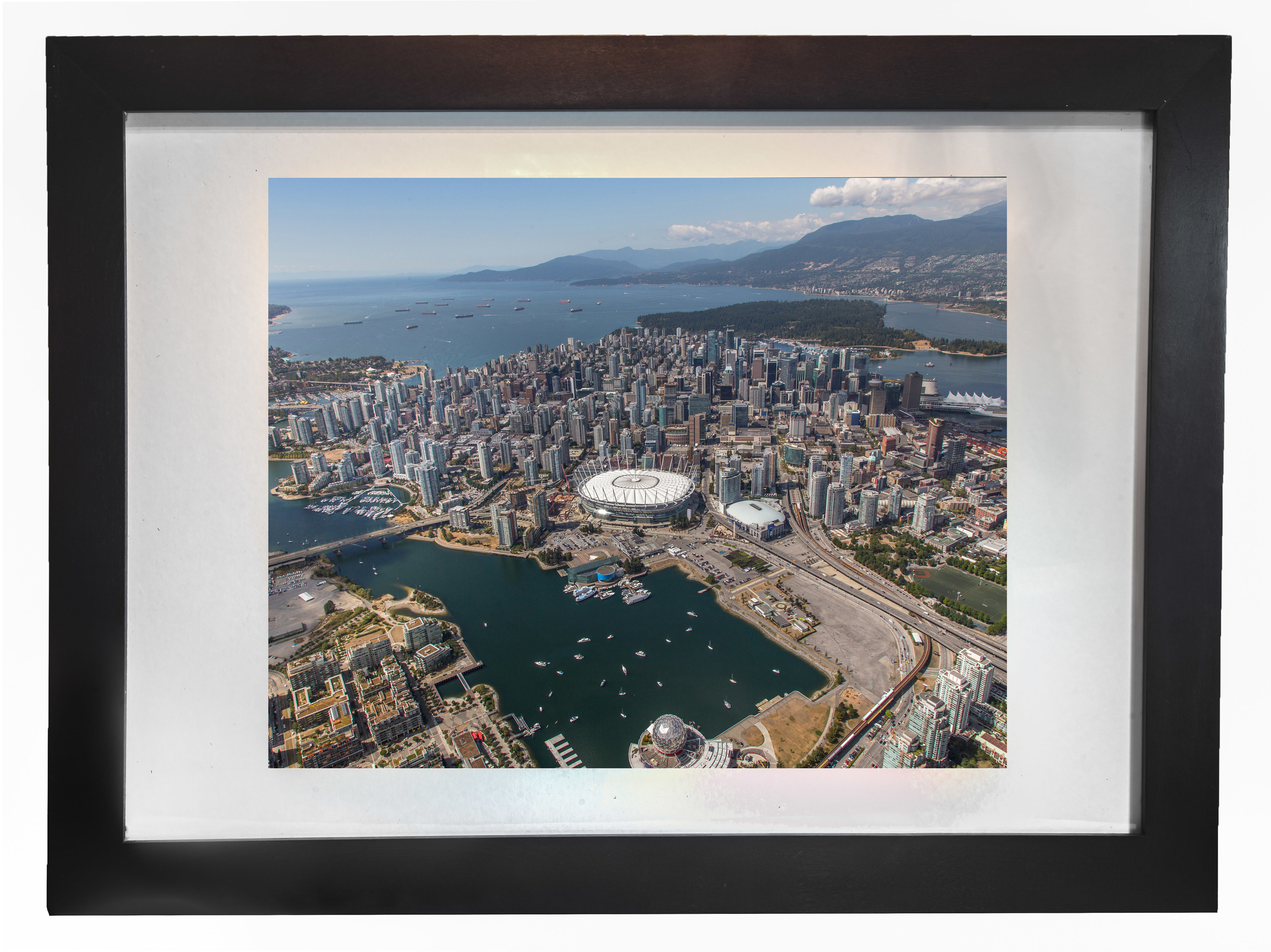 Flight over Downtown Vancouver (Framed)
