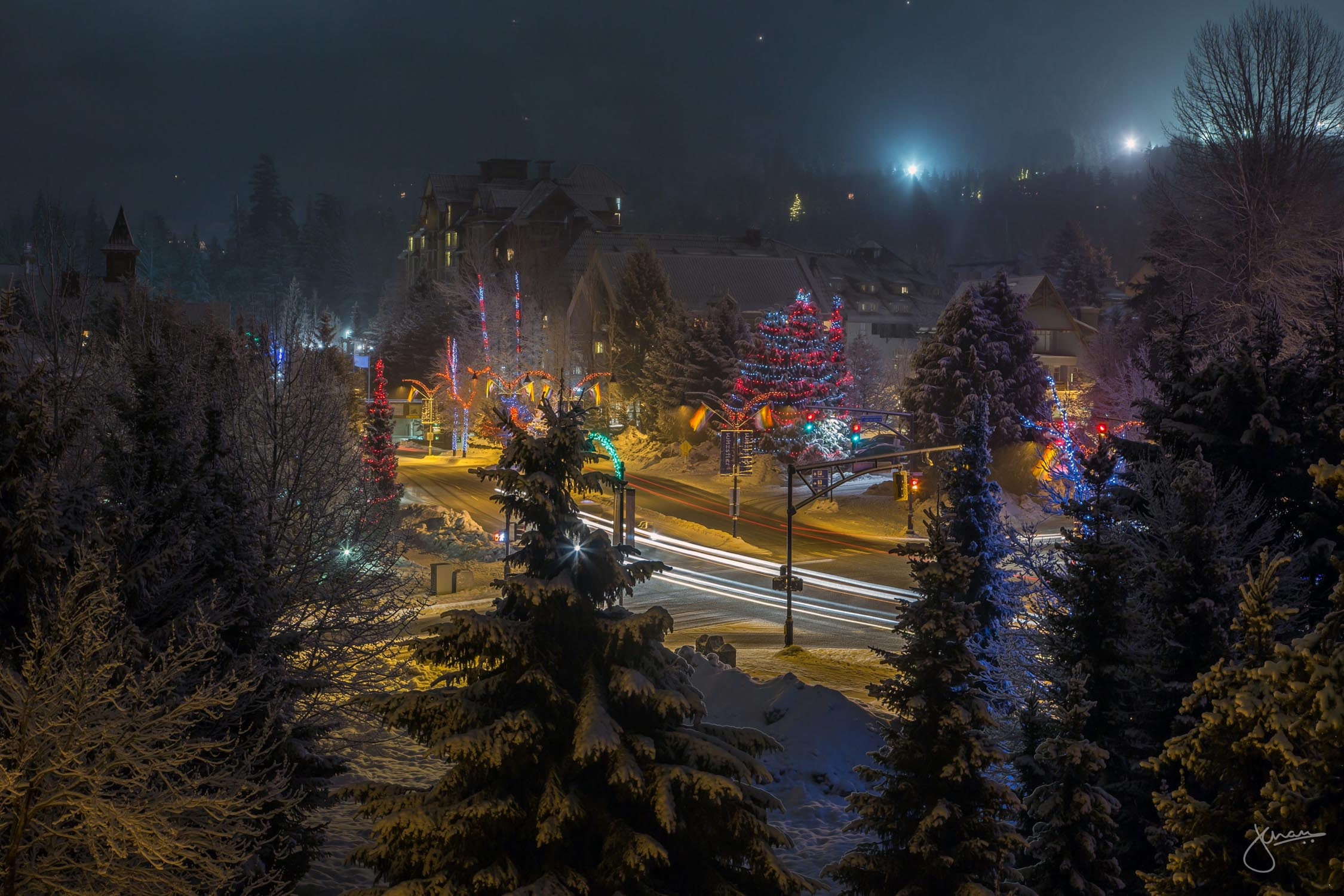 Christmas lights are up in Whistler - creating a fewtiv