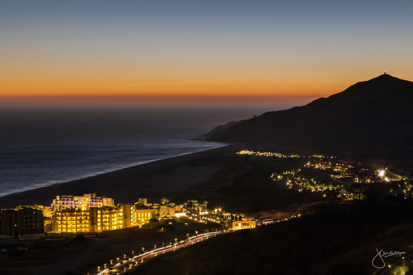 Aerial of Pueblo Bonito Pacifica at Sunset
