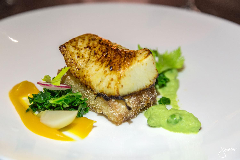 Sablefish Marinated in Sake Lees, with crispy rice & edamame puree