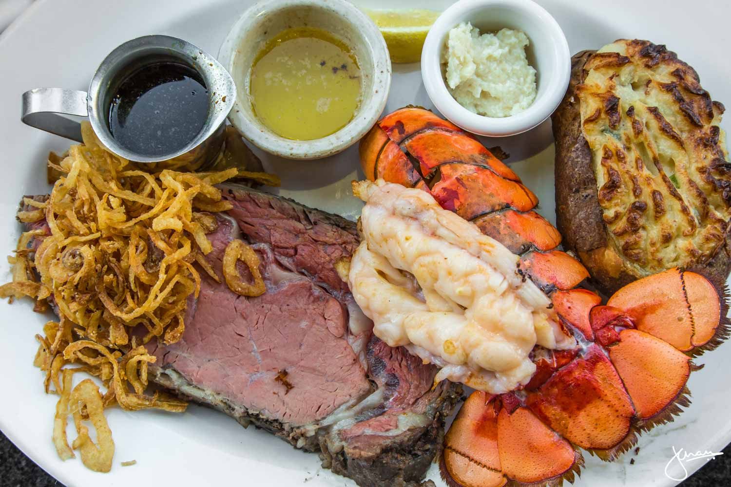 Medium Rare Prime Rib & Lobster Tail