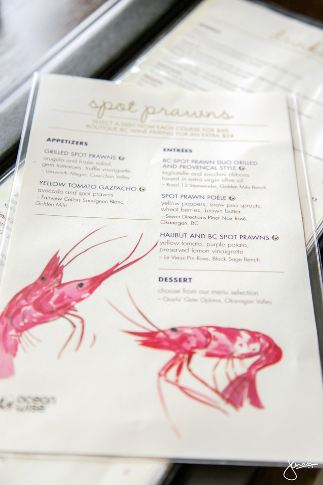 Provence Marinaside Spot Prawn Menu