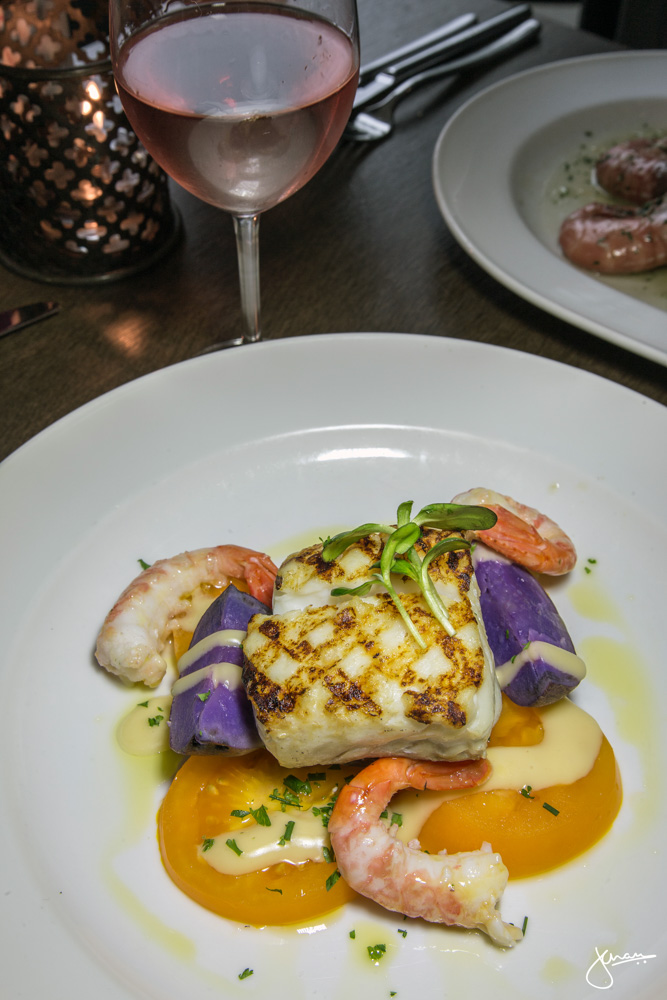 Halibut and BC Spot Prawns, paired with Le Vieux Pin Rose