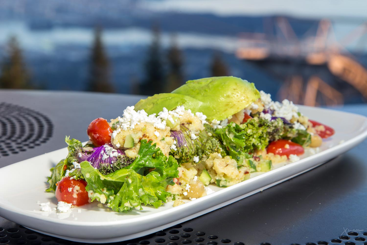 The Grouse Grind Salad - Kale, Couscous, Mint, Tomato, Cucumber, Chick Peas & Feta