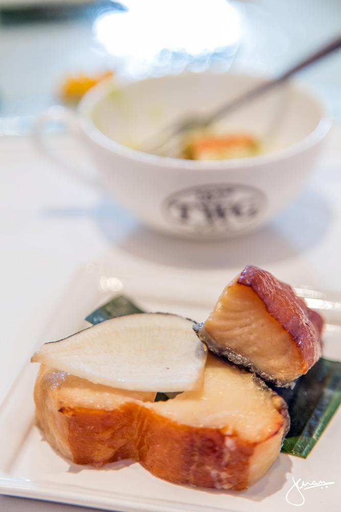 "Miso Maple Sablefish, with ""Place Vendome Tea"" Black Radish"