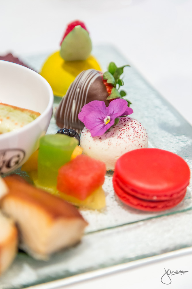 Sweets: Passion-Framboise Tart, TWG Tea Macaron, Ricotta Cheesecake, White & Dark Chocolate Dipped Strawberry & Mélange of Fresh Fruit