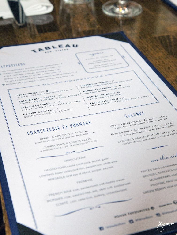 Tableau Bar Bistro Menu