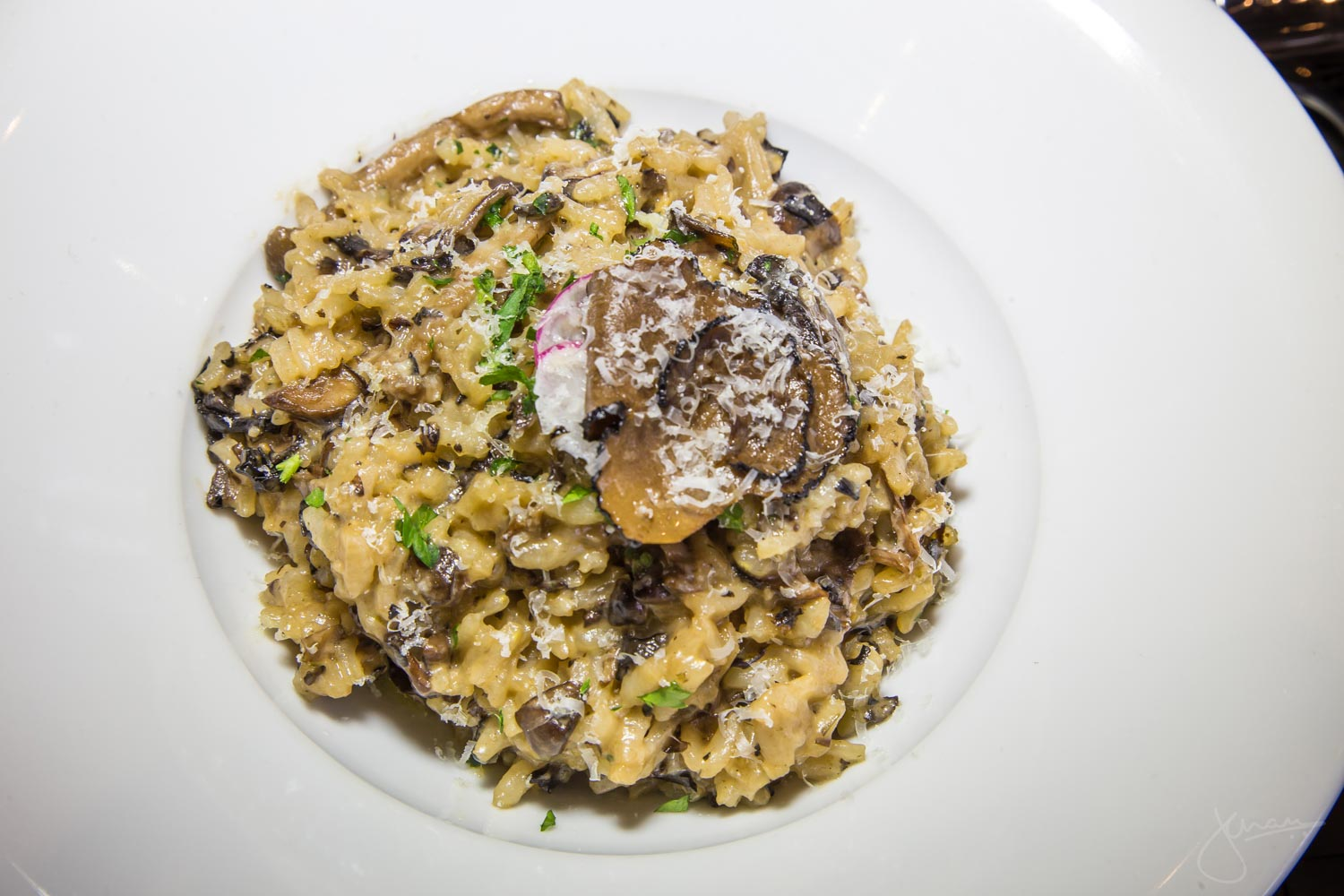 Truffle and Wild Mushroom Risotto - Wild Mushroom Ragout, fresh herbs, shaved black truffle, grated parmesan, white truffle oil