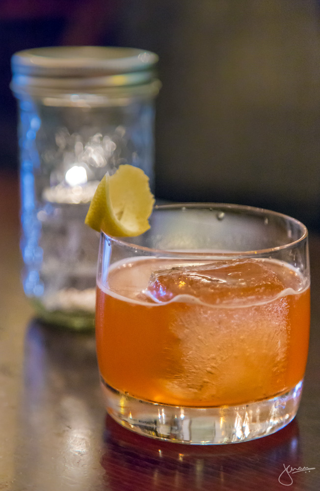 Smoke on the Water - Quarter Cask Laphroig, Aperol, Lemon Juice, Gomme, Orange Bitters, Lemon Twist