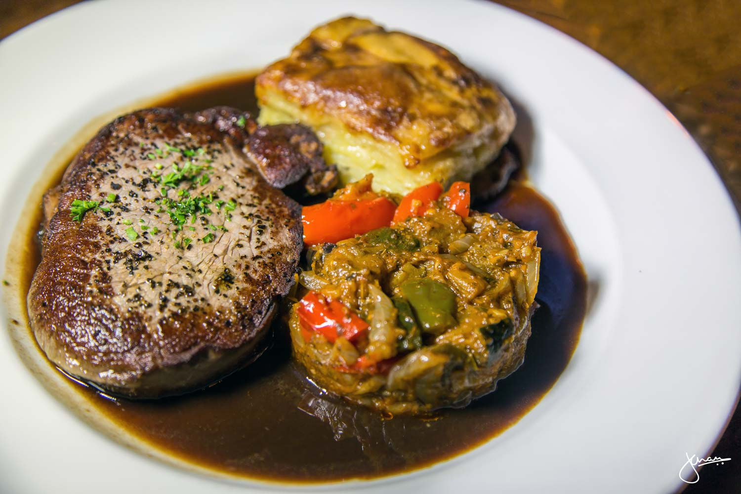 Alberta beef tenderloin with ratatouille, scalloped potatoes & a red wine reduction