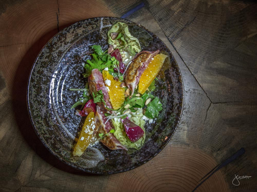 Roasted Beet Gyoza + Market Salad - feta cheese, pickled beets, fresh orange, toasted almonds