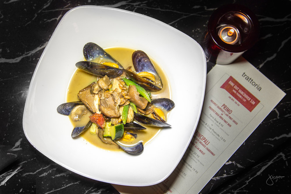Farro Soup - Wild Forest Mushrooms, Mussels, Porcini Brood