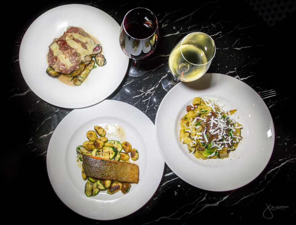 Veal Scallopini, Pan Seared Salmon, Braised Beef Cheek Pappardelle with Wine Pairings