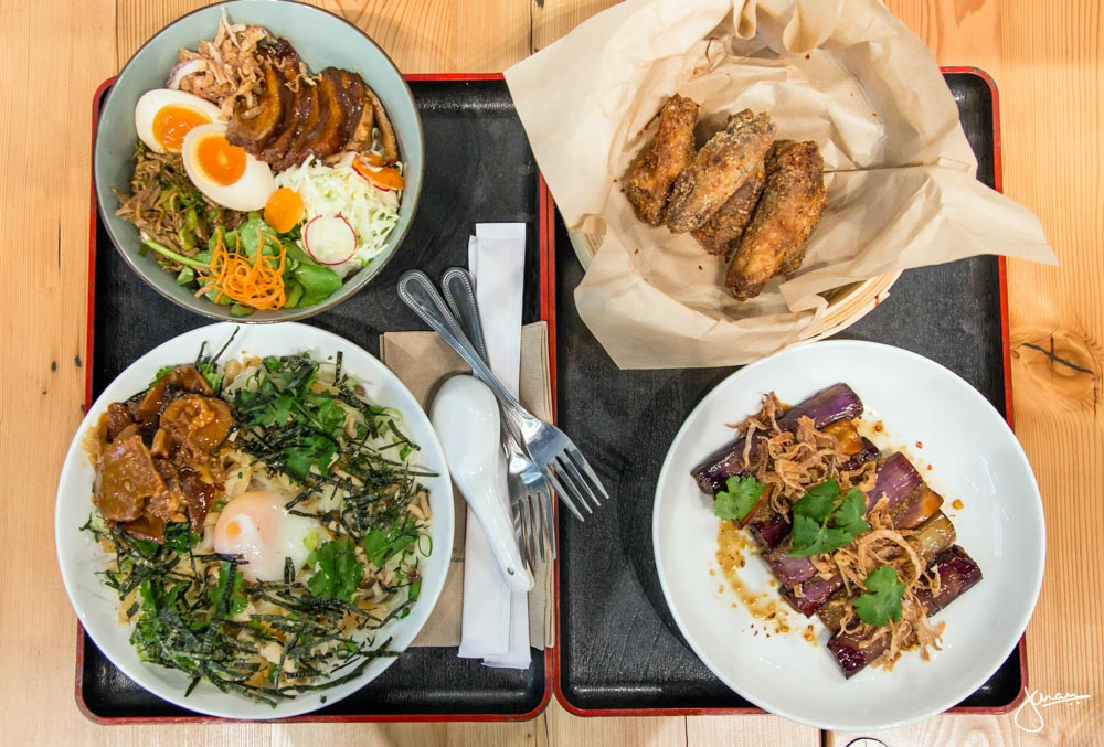 Duck Rice Bowl, House Udon with Char Shiu, Wings & Eggplant