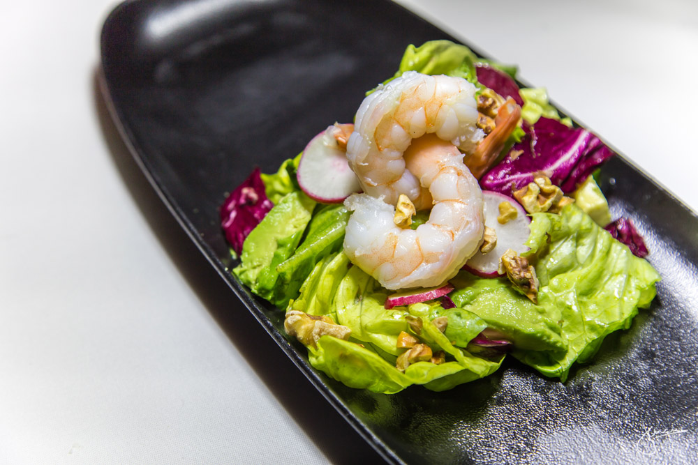 Winter Salad - poached prawns, butter lettuce, radicchio, avocado, walnut, basil emulsion