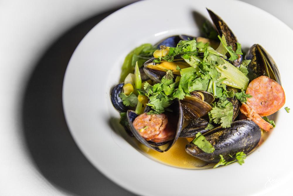 BC Mussels - tomato wine broth, chorizo, corn, braised celery, cilantro