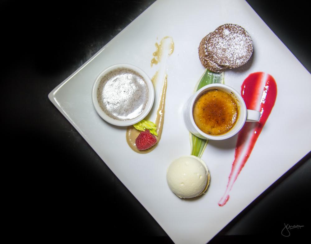 Choca Trio - chocolate lava cake, white chocolate parfait, coffee brulee
