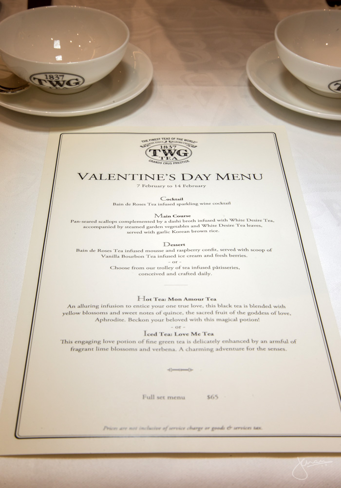 TWG Valentine's Menu