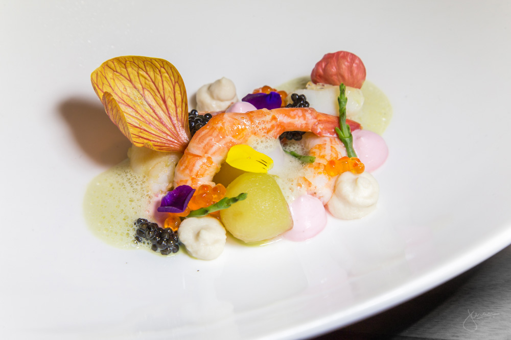 Roses by the Sea - rosé poached shellfish, caviar, rose petal crème fraîche, green apples, rosewater mist