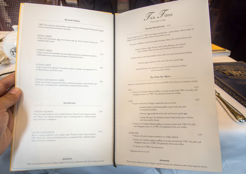 TWG Tea Canada Tea Time Menu