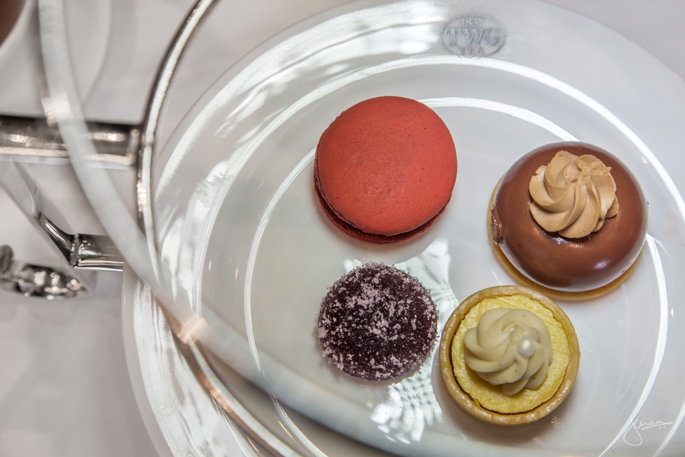 Tier Three - Lemon Bush Tea Infused Mousse Tart, Napoleon Tea Infused Jivara Petit Four, 1837 Black Tea Infused Pâte De Fruit, TWG Tea Macaron