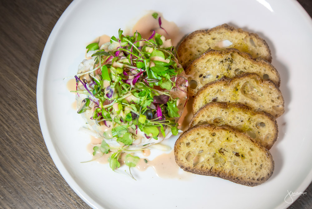Dungeness Crab Salad - pickled celery root, grapefruit, tarragon crème, micro arugula, crostini