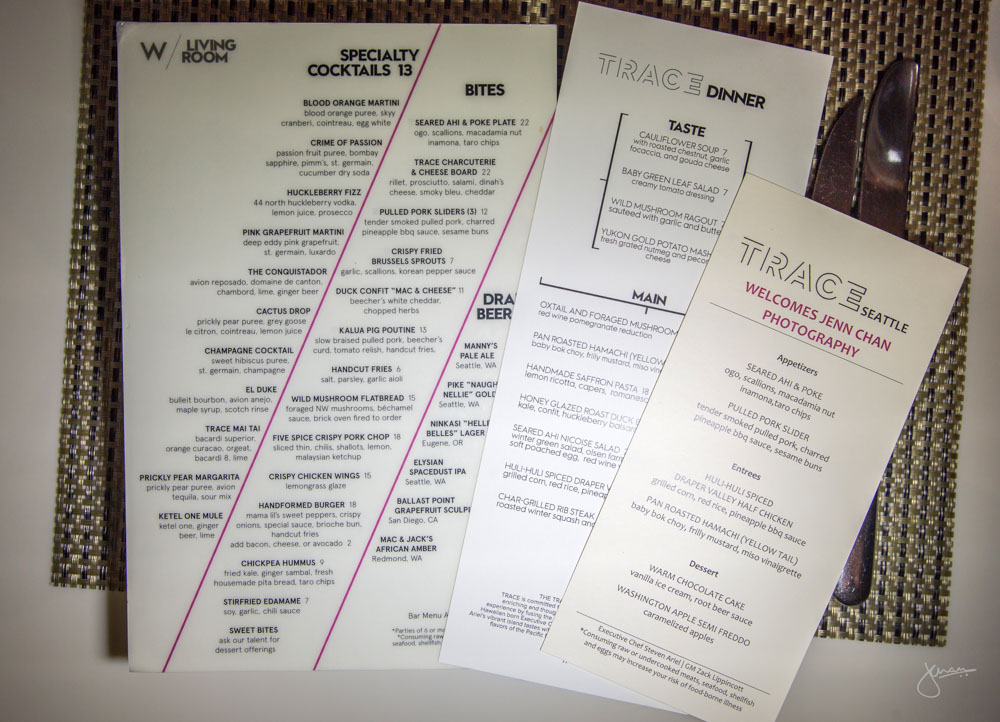 Trace Seattle Menus