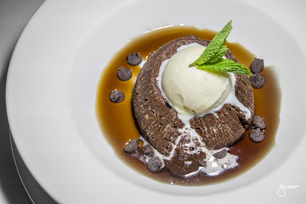 Warm Chocolate Cake: vanilla ice cream, root beer sauce