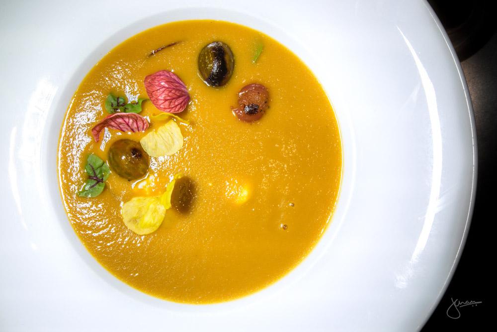 Roasted San Marzano Tomato Soup - tomato oil, fromage frais
