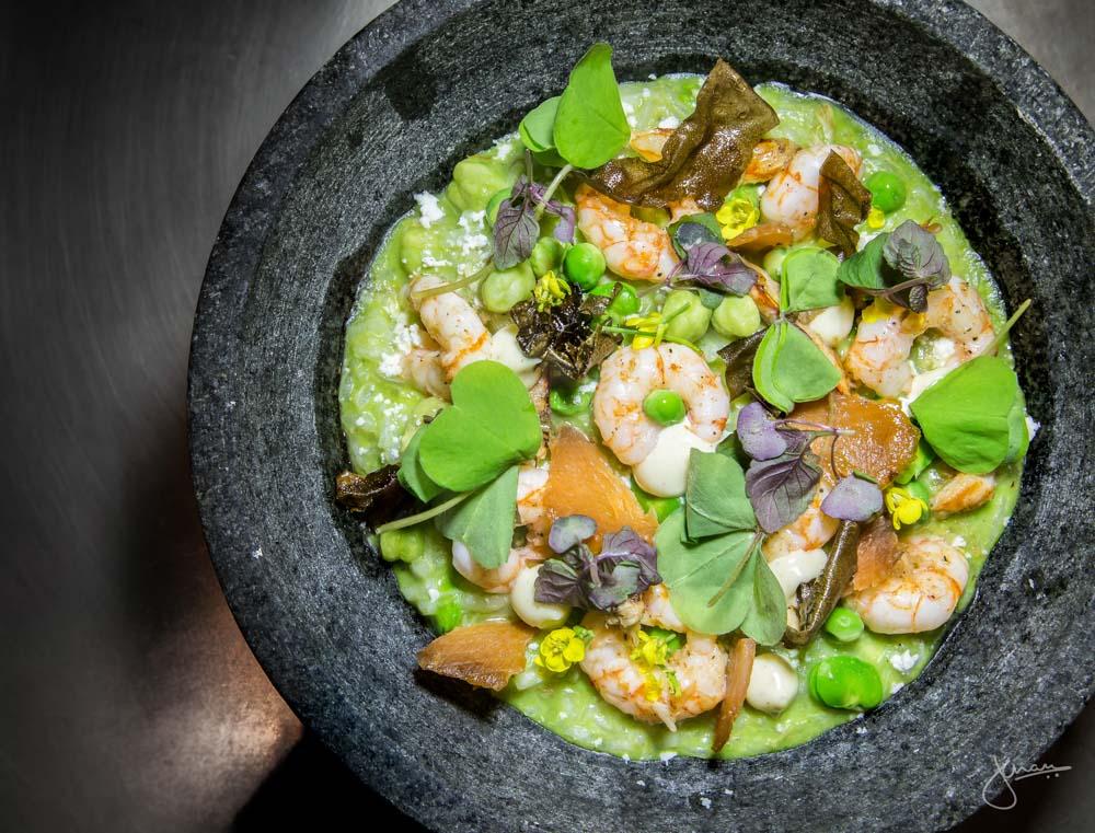Prawn & Crab Risotto - BC shrimp, dungeness crab, spring peas & beans, goat cheese, micro shiso