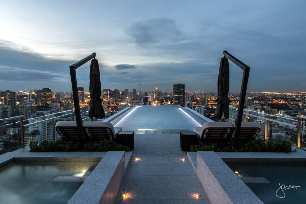 Rooftop Infinity Pool at Blue Hour