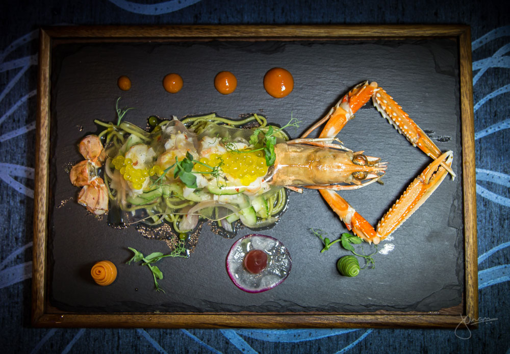 Plah Goong - North Atlantic Langoustine, Matcha Soba Noodles, Veil of Lemon Grass Aspic & Nam Prick Fluid Gel