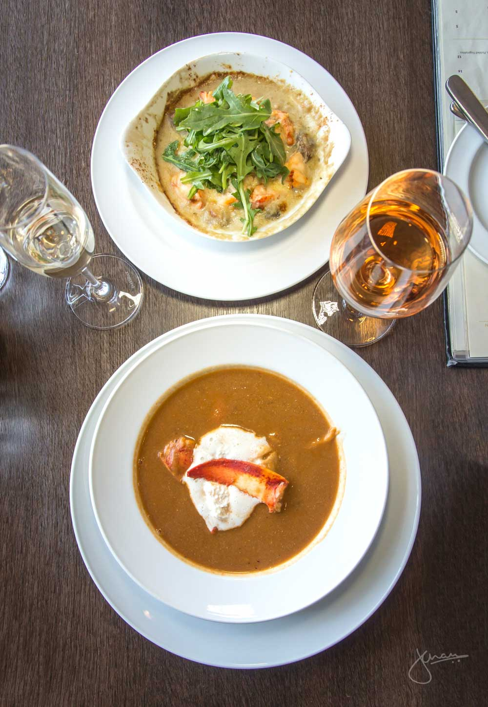 Lobster Bisque + Baked Lobster Thermidor