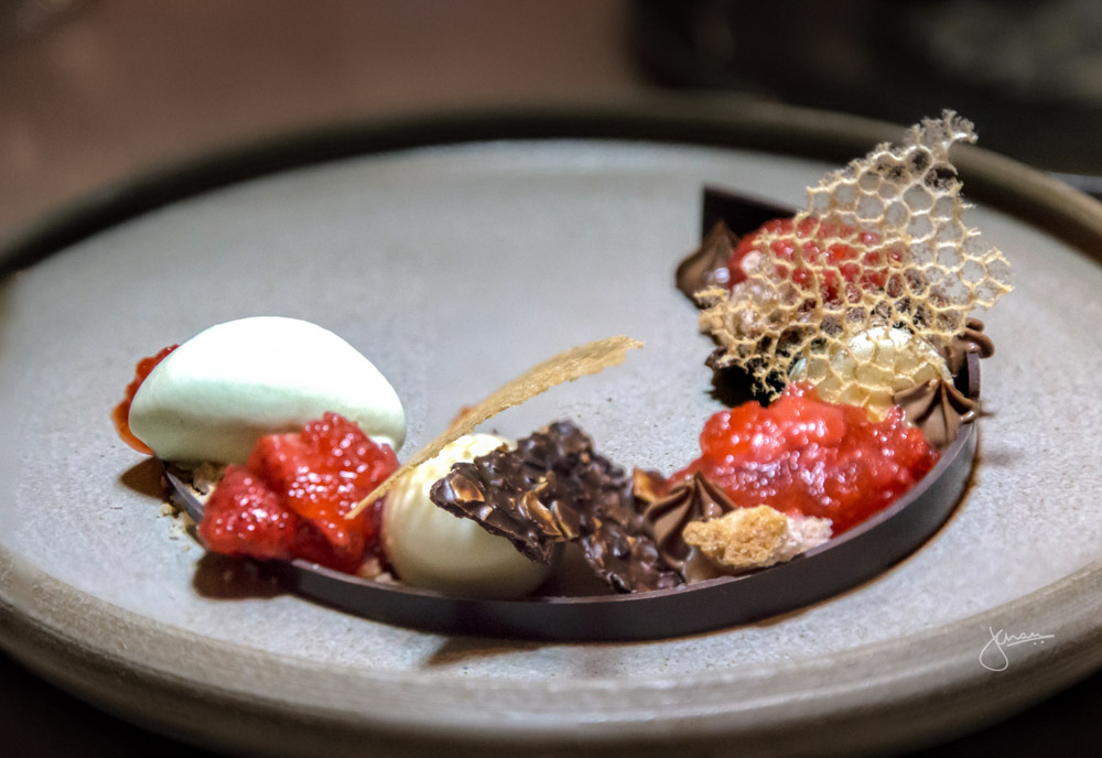 DESSERT: almond cream, chocolate cremeux, peppercorn lace, mint ice cream, white balsamic, STRAWBERRY