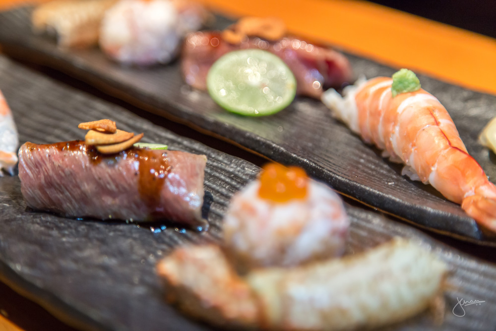 Omakase Sushi: Hairy Crab Roll, Ebi Roll & Wagyu Beef Roll